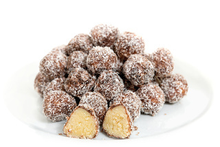 Balls of coconut and chocolate.