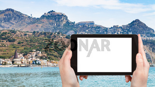 tourist photographs Giardini-Naxos and Taormina
