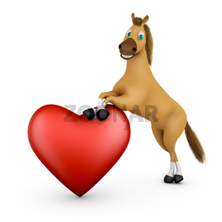 Funny horse and heart