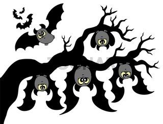 Cartoon bats hanging on branch - isolated illustration.
