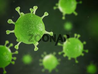Human pathogenic virus and bacterias under microscope. Viral disease.