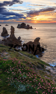 Sunset Arnia Beach coastline landscape.