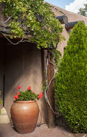 A stone pot with flowers decorates the doorway of an old southwestern adobe house in Santa Fe, NM.