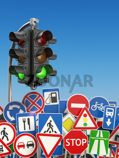 Traffic signs with traffic lights on the sky background.