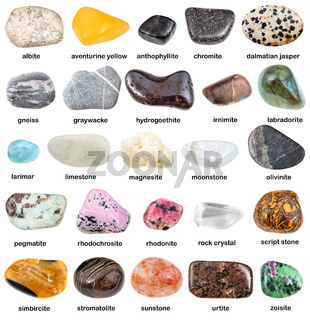 collection of natural mineral gemstones with name