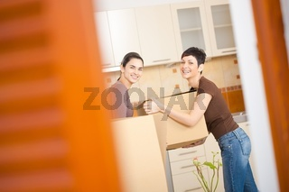 Women moving to new home