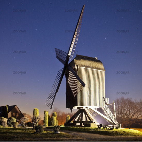 post mill in Toenisberg at blue hour, Kempen, Lower Rhine, North Rhine-Westphalia, Germany, Europe