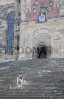 Restaurierungsarbeiten an der Michaelskirche in Schwaebisch Hall