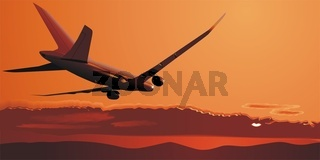 Flugzeuge auf Sonnenaufgang
