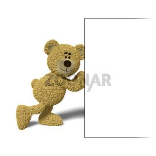 Nhi Bear pushing a billboard