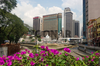 KUALA LUMPUR, MALAYSIA - JANUARY 16, 2016: Historic mosque of Masjid Jamek, It's built in 1909 and one the oldest mosques in KualaLumpur located at the confluence the Klang Gombak River.