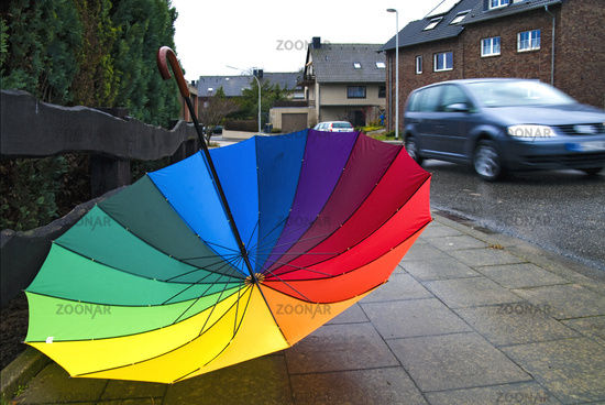 Colorful umbrellas on the footpath