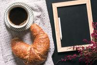 Blank chalkboard with flowers and breakfast