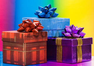 red and blue gift boxes