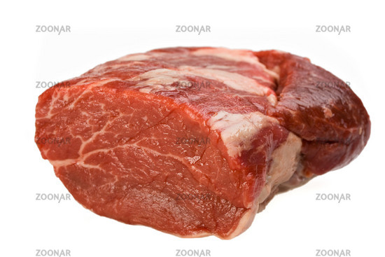 slice of a raw scotch fillet isolated on white