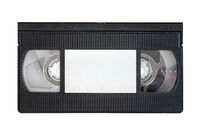 Outdated VHS tape on a white background