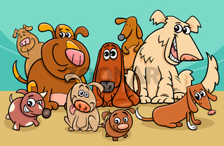 funny dog characters group cartoon illustration