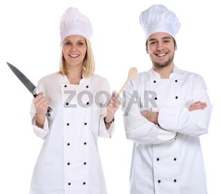 Koch Köche jung Azubi Azubis Ausbildung Auszubildender Messer kochen Beruf Freisteller
