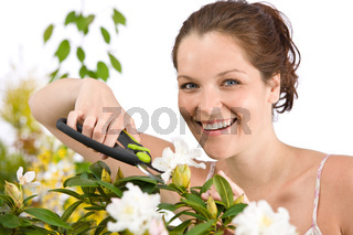 Gardening - woman cutting flower with pruning shears