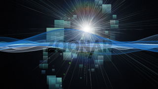 Futuristic technology wave background design with light and squares
