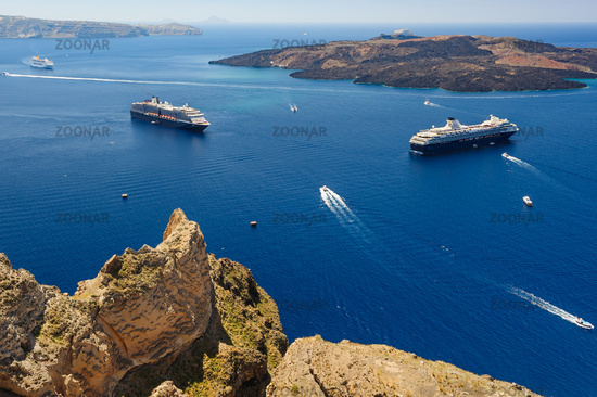 View from Fira to caldera sea, Santorini