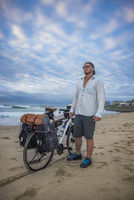 Cycle Packer on Beach with Bicycle