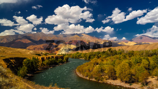 Landscape of colored mountain near Kokemeren river, Djumgal, Kyrgyzstan