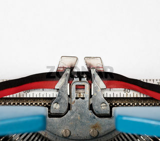 Macro detail of the type of electric typewriter with ribbon
