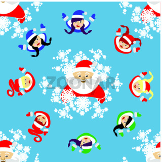 seamless pattern. New Year's Christmas holiday. Santa Claus, a devushkasant  and the elf in  circle. an illustration  vector to use eps 10 for the press, design, the websites, registrations,  undershirt,  t-shirt,  print...
