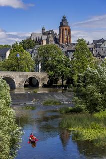 Alte Lahnbrücke und Wetzlarer Dom in der Altstadt von Wetzlar, Hessen, Deutschland
