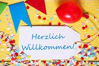 Party Label, Red Balloon, Herzlich Willkommen Means Welcome