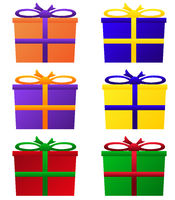 Gift packages in colorful colors