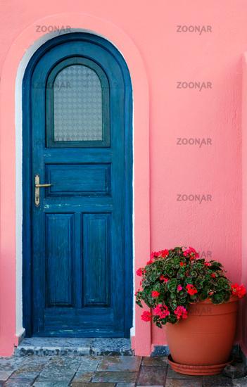 Blue door on a Greek island