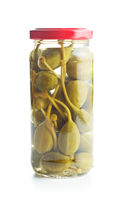 Pickled caper berries in jar.
