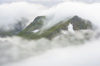 Foggy mood in the mountains, Flakstadsoeya, Lofoten, Norway