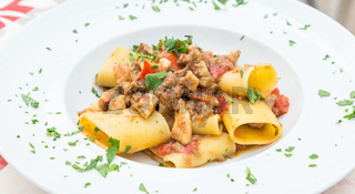 Italian Paccheri pasta  with Swordfish