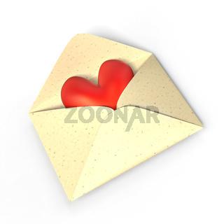 Herz im Umschlag.