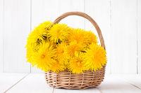 Wicker basket full of yellow sow-thistles