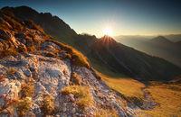 sunrise in rocky Alps