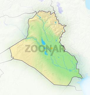Irak , Reliefkarte.