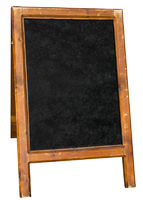Empty menu board stand sign isolated over white.