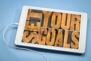 set your goals banner on a tablet