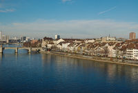 View of the city from the river Rhine basel