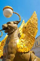 Griffins on the Bank Bridge, St Petersburg, Russia