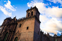 Cathedral of Cusco on the Plaza de Armas, Cusco, Peru at sunset