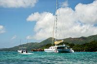 Catamaran in front of island Praslin