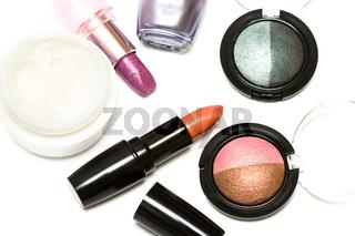 set for make-up (cream, eyeshadows and lipsticks)