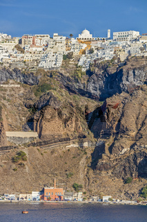 Town Of Fira Perched On The Clifftop Santorini Greece