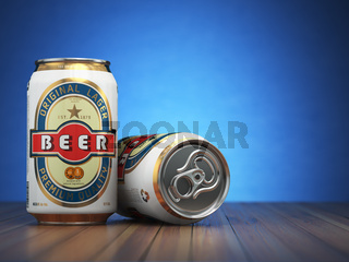 Beer cans on blue  background