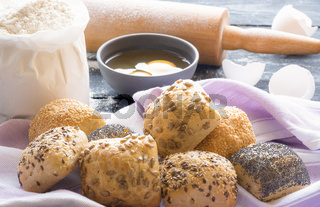 Buns with seeds and ingredients
